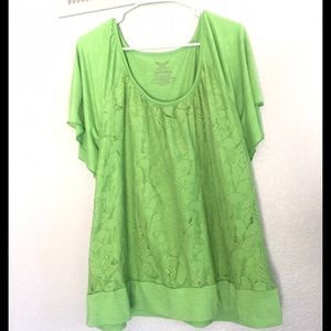 Faded Glory Green Lace Plus Size Top 3x